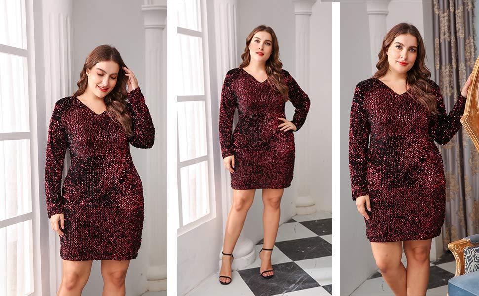 90e5633f Zeagoo Womens Plus Size Glitter Bodycon Sequin Cocktail Party Club ...