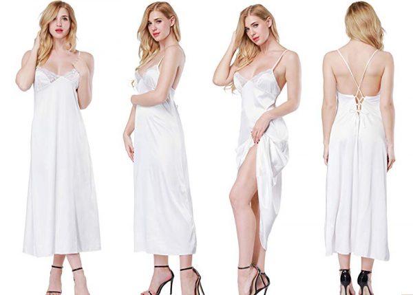 ca9d794c56b8 ETAOLINE Women's Sexy Lace Trimmed Satin Full Length Slip Lingerie ...